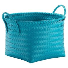 Decorative Basket RE Polypropylene Teal Blue Opaque Round.   Material: Polypropylene   Care and Cleaning: Wipe Clean with a Damp Cloth   Product Dimensions: 9.000,H 13.250,W 13.250D    $8.99