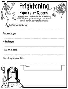 Fun figure of speech activity for the Halloween season!! A perfect figurative language activity for exploring idioms with students.