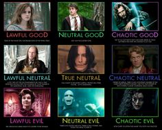 Harry Potter Alignment Chart when I did the test I got True Neutral. I guess this makes a lot of sense. :)
