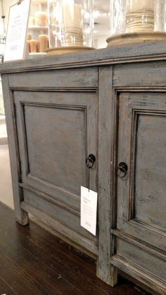 Pottery Barn Molucca Media Console Table Blue distressed paint