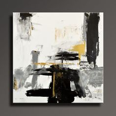 ABSTRACT PAINTING Black White Gray Gold Painting by Art70studio