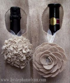 Make a No Sew Felt Wine Bag / Wrap {An Inexpensive Hostess Gift}  With the holiday season upon us and lots of fabulous parties to attend - here is a simple and quick way to dress up a bottle of wine for the hostess! {Seriously - you can make this in just a few minutes while ironing your party outfit and pick up a bottle of bubbly on your way to the get-together}