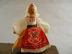 Estonian folk doll by Handmade wooden doll figurine Estonian national costume doll USSR era folk art doll