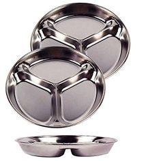 Stainless Steel Divided Tray Divided Dinner Snack Plate K..  sc 1 st  Pinterest & Amazon.com | Stainless Steel Round Divided Dinner Plate 4 sections ...
