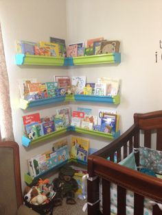 Wyatt's reading shelves from rain gutters