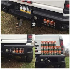 Graves Truck Gear makes a storage bumper with two weather-sealed locking compartments that will hold 22 cans each.  Great for tow straps and other recovery gear.  $1600+