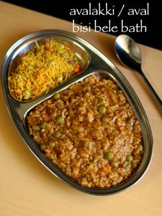 avalakki bisi bele bath recipe, aval bisi bele bath, avalakki recipes with step by step photo/video. traditional karnataka recipe with poha and lentil. Garlic Recipes, Onion Recipes, Veggie Recipes, Indian Food Recipes, Vegetarian Recipes, Rice Recipes, Kerala Recipes, Snack Recipes, Recipies