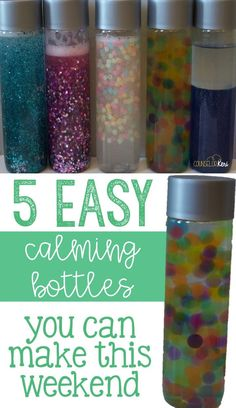 5 easy calming/sensory bottles you can make this weekend - great for school counseling, calming corners, calm down corners, calming kits, and more