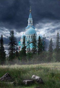 Церковь, Лес, Туман, Камни, Хмурое Небо