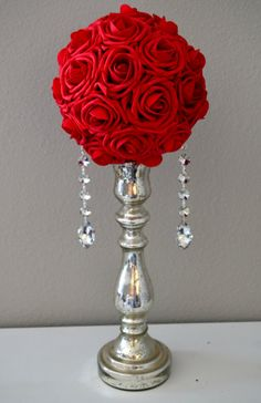 RED Crystal Bling Real Touch Roses flower ball by KimeeKouture