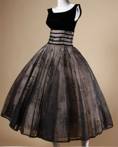 ~Vintage 1950s Black Organza Burn Out Velvet Party Dress~