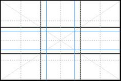Photo composition. The blue lines are where it would appear on a rectangle the points of interest, they are roughly where the lines cross perpendicular. You can 'cheat' by using 'thirds' (black lines) instead of the golden (blue lines)