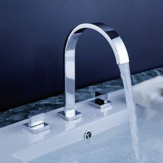 Widespread Contemporary Chrome Bathroom Sink Faucet – USD $ 84.99