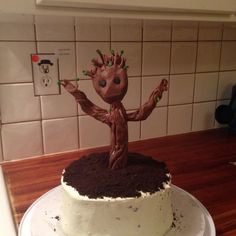 I'm so proud of my creation! Guardians of the Galaxy Baby Groot cake!