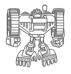 Boulder bot coloring pages for kids, printable free - Rescue bots