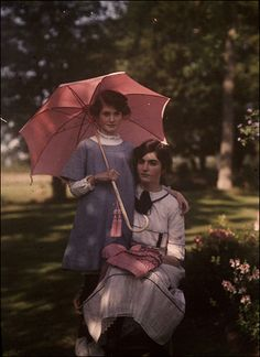 Sisters (Edwardian Age in Color). Autochrome Lumière is an early color photography process. Patented in 1903 by the Lumière brothers in France.