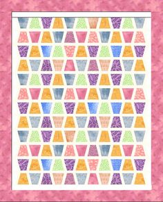 sashed tumbler quilt, gotta try this. Quilting Templates, Quilt Patterns Free, Quilting Tutorials, Quilting Projects, Quilting Designs, Sewing Projects, Charm Pack Quilts, Charm Quilt, Tumbling Blocks Quilt