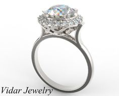 Halo Diamond Engagement RingUnique Ring Design by Vidarjewelry, $8850.00