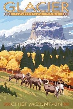Glacier National Park, Montana - Chief Mountain & Big Horn Sheep - Lantern Press Artwork Giclee Gallery Print, Wall Decor Travel Poster), Size: 36 x 54 Giclee Print, Multi National Park Posters, National Parks, Nationalparks Usa, Voyage Usa, Kunst Poster, Park Art, Vintage Travel Posters, Illustrations Posters, Art Prints