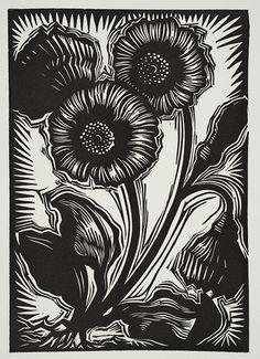 Primrose ~ Linocut by Deborah Harris