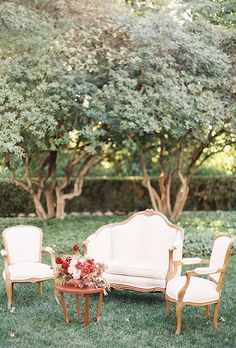 A classic lounge area with vintage-style furniture | Brides.com