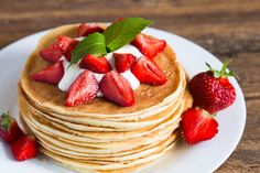 Buy Delicious pancakes with strawberry on wooden background by ollinka on PhotoDune. Delicious pancakes with strawberry on wooden background Tasty Pancakes, Healthy Summer Recipes, Dessert Dishes, Wooden Background, Morning Food, How To Cook Pasta, Delicious Desserts, Homemade, Snacks