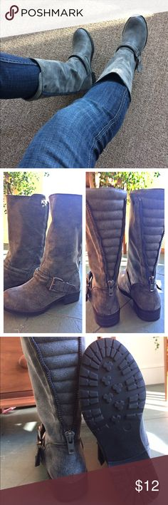 """Awesome smokey grey mid calf boots new! Size 5.5 """"distressed"""" grey mid calf boots with a cool blue zip up the back. Low heel, about 1"""". Dark silver side buckles. Soft man made material. From top of boot down to bottom of heel measures about 11.5"""". Circumference at ankle is about 12"""". Circumference at top opening approximately 14"""". I bought these from Justfab and never got around to wearing them. Awesome boots, just gotta get rid of stuff. JustFab Shoes Combat & Moto Boots"""