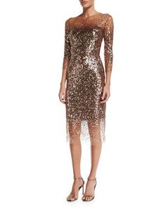 Sequined+Ombre+Illusion+3/4-Sleeve+Dress,+Bronze+by+Monique+Lhuillier+at+Neiman+Marcus.