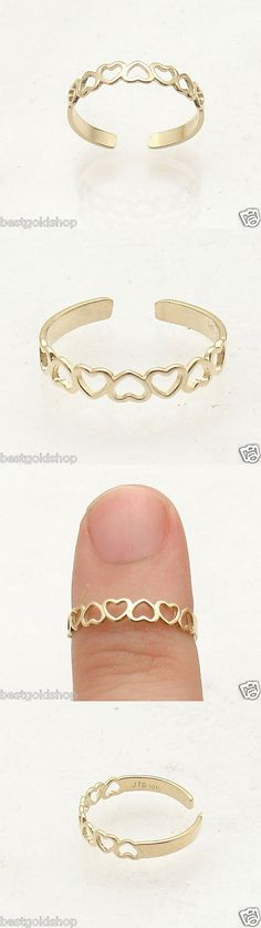 Toe Rings 140010: Cute Adjustable Open Heart Design Toe Ring Solid Real 10K Yellow Gold BUY IT NOW ONLY: $39.6