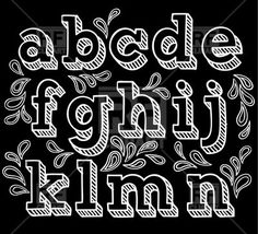 Sketchy hand drawn font, shaded letters - Vector Stock Image of Design elements © bariskina – RFclipart Chalk Writing, Chalkboard Writing, Chalkboard Fonts, Chalk Fonts, Chalk Lettering, Chalkboard Designs, Hand Lettering Fonts, Doodle Lettering, Creative Lettering