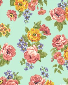 Dover - Cozy Bouquets - Seaglass Green - FLANNEL