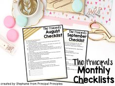 Principal Principles: Principal's Monthly To-Do Checklists
