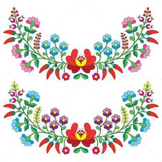 Hungarian Embroidery Stitch etno: Hungarian floral folk pattern - Kalocsai embroidery with flowers and paprika Illustration - Mexican Embroidery, Hungarian Embroidery, Folk Embroidery, Brazilian Embroidery, Learn Embroidery, Flower Embroidery, Hungarian Tattoo, Embroidery Jewelry, Chain Stitch Embroidery