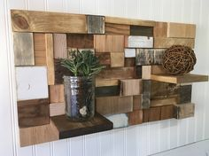 Reclaimed wood wall art with shelves, wood display shelf, wood wall decor wood wall hanging hanging shelves rustic wood art wall shelf decor by TreetopWoodworks on Etsy https://www.etsy.com/listing/546201636/reclaimed-wood-wall-art-with-shelves