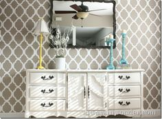Stenciled wall using Cutting Edge Stencils. The elegant look this gives the wall is fabulous. Forget a plain wall, give it a design with this DIY home idea.   http://www.alwaysinwonder.com/2011/12/stenciling-our-dining-room-with-cutting.html