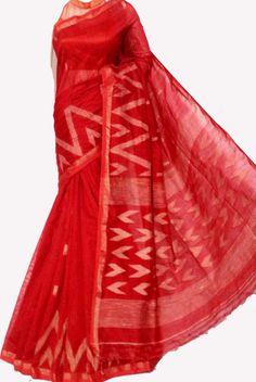 Red Pure Handloom Jamdani Cotton Silk Saree