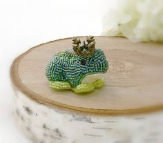 Frog Prince Figurine Miniature Beaded Fairy Tale by MeredithDada