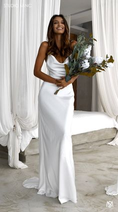 White lust studio minc cowl satin neckline fishtail dress with low back and train effortless bride luxurious ball gown v neck open back ivory lace wedding dresses sequins beach bridal dresses Popular Wedding Dresses, Wedding Dress Trends, Dream Wedding Dresses, Gown Wedding, Lace Wedding, Wedding Beach, Wedding Dress Simple, Beach Weddings, Wedding Cakes