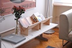 Erik Heywood made these lovely book shelve units for Book/shop. I would make little themed book corners around the house with these :) Patel-2