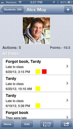 Keep track of behavior and attendance on your iphone.  Interesting