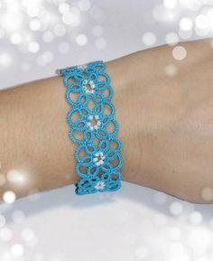 Sky light blue flowers bracelet handmade with shuttle tatting technique - Frivolitet - Tatting Bracelet, Lace Bracelet, Tatting Jewelry, Lace Jewelry, Tatting Lace, Flower Bracelet, Diamond Bracelets, Bangles, Shuttle Tatting Patterns