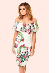 ef9c0acb Jessica Wright Willow Off The Shoulder Floral Frill Bodycon Dress Jessica  Wright Dresses, Shoulder Shirts