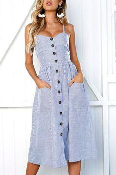 Depway Spaghetti Strap Sleeveless Single Breasted Cotton Blend Mid Calf Dress