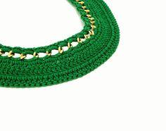 Summer Fashion Green Chain Crocheted Collar by IremOzerdemDesigns, $35.00