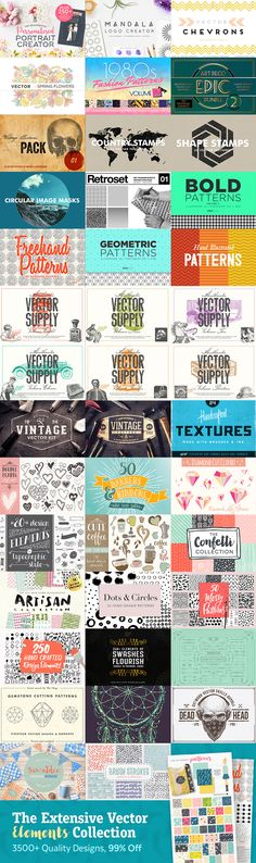 The Extensive Vector Elements Collection: 3500+ Quality Designs Just $29. Featured are seamless patterns, decorative flourishes, textures, florals, shapes, doodles, borders, dividers, vintage designs and much more. You can save almost $4000 on this entire bundle, for a limited time only. We've also included our unbeatable extended license.