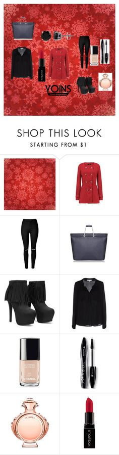 """""""YOINS CONTEST RED COAT"""" by almaaa789 ❤ liked on Polyvore featuring Milly, Chanel, Lancôme, Paco Rabanne, Smashbox, BERRICLE, women's clothing, women, female and woman"""