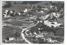 Lørenfallet i Sørum kommune 1950-tallet - Romerike - Akershus fylke .  Flyfoto: Norrøna fly