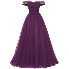 Bridesmay Long Tulle Prom Dress Beaded Off Shoulder Evening Gown... (€47) ❤ liked on Polyvore featuring dresses, purple dresses, prom dresses, off the shoulder long dress, homecoming dresses and long prom dresses