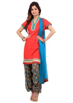 Red printed patiala suit