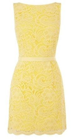 Yellow lace dress.  Simple and elegant.